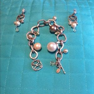 Artisan style bracelet with matching earrings